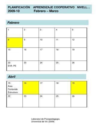 PLANIFICACIÓN    APRENDIZAJE COOPERATIVO   NIVELL…  2009-10                Febrero – Marzo