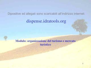 Modulo: organizzazione del turismo e mercato turistico
