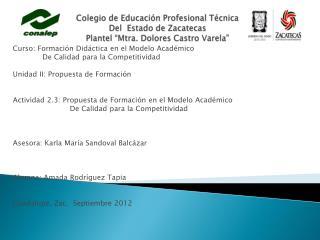 Curso: Formación Didáctica en el Modelo Académico             De Calidad para la Competitividad
