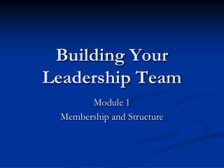 Building Your Leadership Team