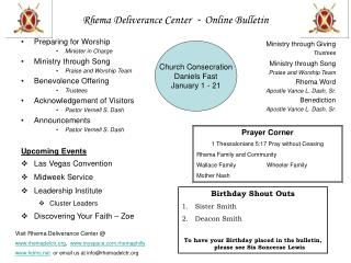 Rhema Deliverance Center   -  Online Bulletin