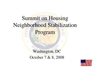 Summit on Housing Neighborhood Stabilization Program