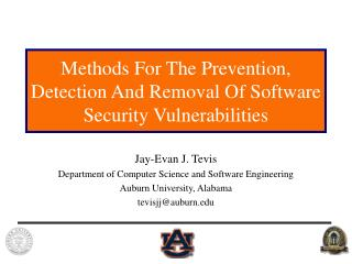 Methods For The Prevention, Detection And Removal Of Software Security Vulnerabilities