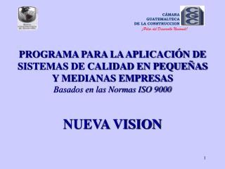PROGRAMA PARA LA APLICACI N DE SISTEMAS DE CALIDAD EN PEQUE AS Y MEDIANAS EMPRESAS Basados en las Normas ISO 9000   NUEV
