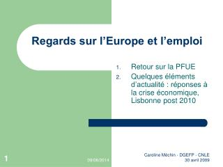 Regards sur l Europe et l emploi
