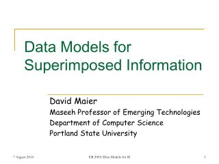 Data Models for Superimposed Information