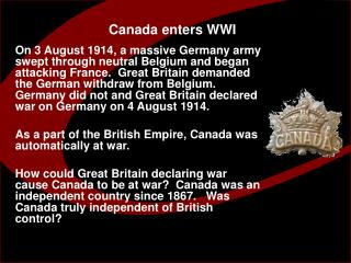 Canada enters WWI