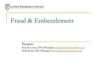 Fraud  Embezzlement