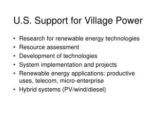 U.S. Support for Village Power