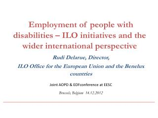 Employment of people with disabilities – ILO initiatives and the wider international perspective