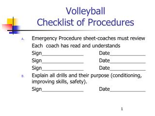 Volleyball  Checklist of Procedures