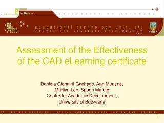 Assessment of the Effectiveness of the CAD eLearning certificate