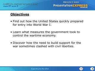 Find out how the United States quickly prepared for entry into World War I.