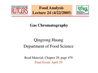 Food Analysis  Lecture 24 (4/22/2005)