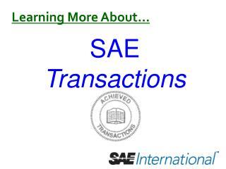 SAE  Transactions