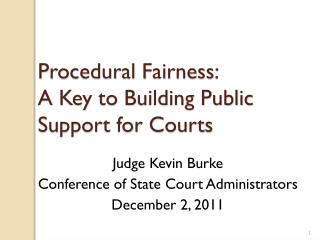 Procedural Fairness: A Key to  Building Public Support for Courts
