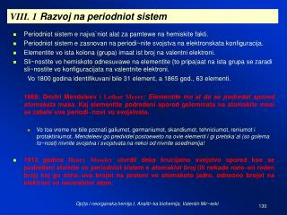 VIII. 1  Razvoj na periodniot sistem
