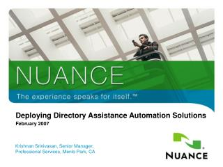 Deploying Directory Assistance Automation Solutions  February 2007