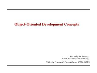Object-Oriented Development Concepts