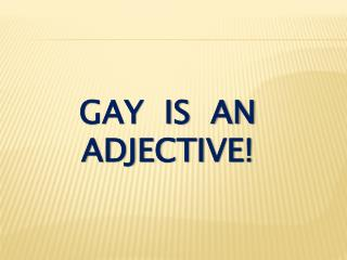 Gay  is  an adjective!