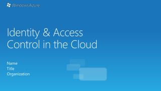 Identity & Access Control in the Cloud