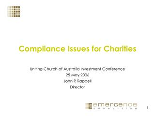 Compliance Issues for Charities