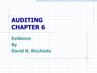 AUDITING CHAPTER 6