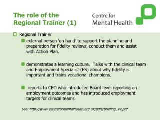 The role of the  Regional Trainer (1)