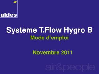 Système T.Flow Hygro B Mode d'emploi