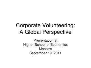 Corporate Volunteering: A Global Perspective