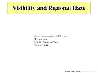 Visibility and Regional Haze