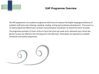 EAP Programme Overview