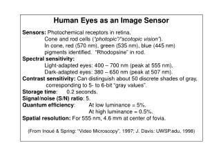 Human Eyes as an Image Sensor Sensors:  Photochemical receptors in retina.