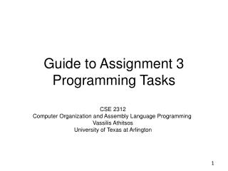 Guide to Assignment 3  Programming Tasks