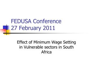 FEDUSA Conference 27 February 2011