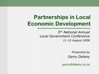 Partnerships in Local Economic Development