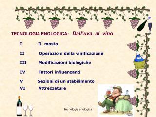 TECNOLOGIA ENOLOGICA: Dall'uva  al  vino               I            Il  mosto