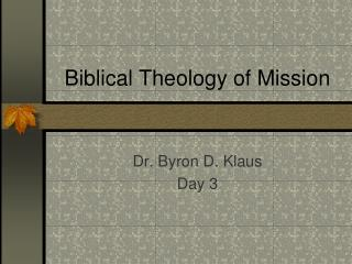 Biblical Theology of Mission