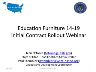 Education Furniture 14-19 Initial Contract Rollout Webinar