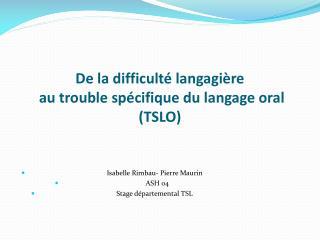 De la difficulté langagière  au trouble spécifique du langage oral (TSLO)