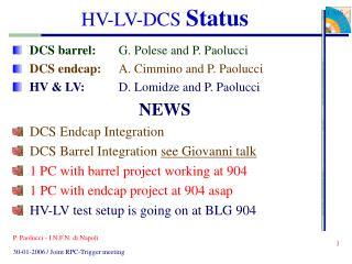 HV-LV-DCS  Status