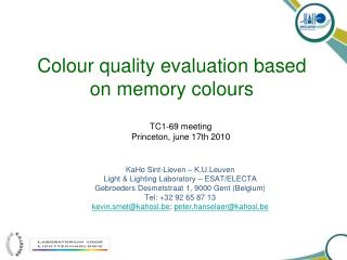 Colour quality evaluation based on memory colours