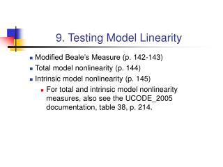 9. Testing Model Linearity