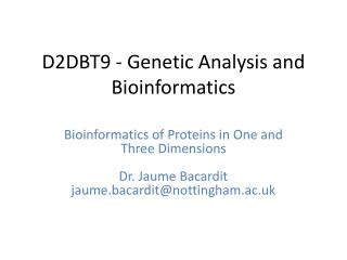 D2DBT9 - Genetic Analysis and Bioinformatics