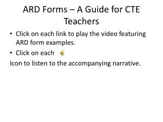 ARD Forms � A Guide for CTE Teachers