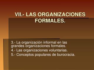 VII.- LAS ORGANIZACIONES FORMALES.