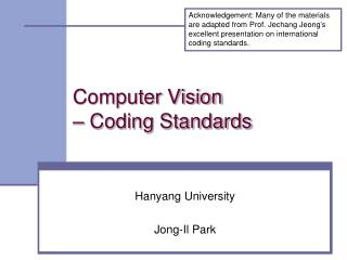 Computer Vision – Coding Standards