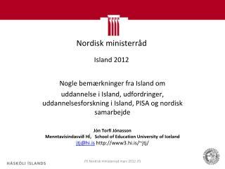 Nordisk  ministerråd Island 2012