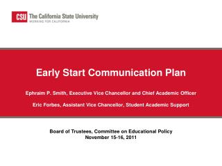 Board of Trustees, Committee on Educational Policy November 15-16,  2011
