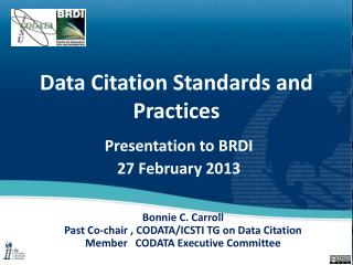 Data Citation Standards and Practices